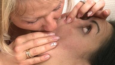 Kissing Girls Smother -Domina Alexandra Diamond And Slave Kitty White