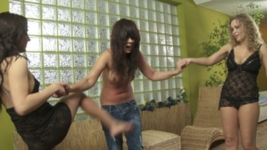 Stomach Punching -Hard Punching By 2 Dominas And Slave Little Julie